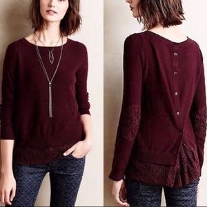 Anthropologie Sweater Button Up Back & Lace Hem